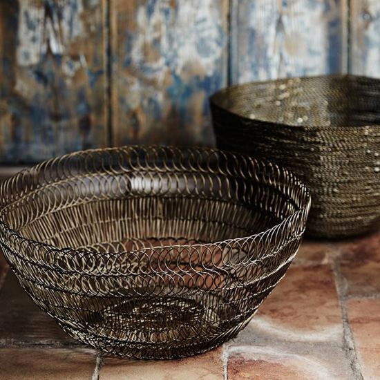 A wire knitted bowl finished